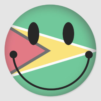 Guyana Smiley Classic Round Sticker