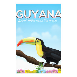 Guyana South american paradise travel poster Stationery