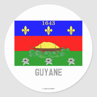 Guyane flag with name classic round sticker