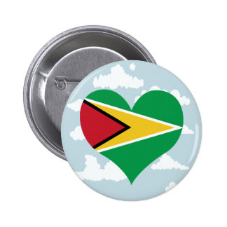 Guyanese Flag on a cloudy background 6 Cm Round Badge