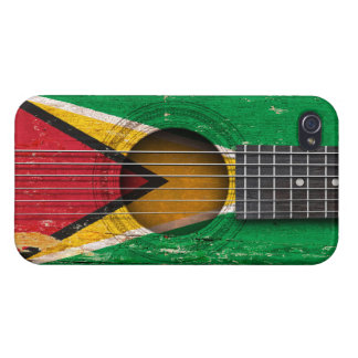Guyanese Flag on Old Acoustic Guitar iPhone 4 Cases