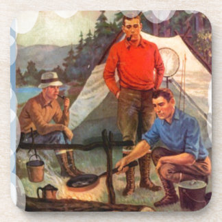 Guys only camping trip beverage coasters