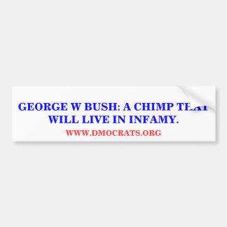 GW BUSH: A CHIMP THAT WILL LIVE IN INFAMY STICKER BUMPER STICKER
