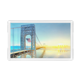 GWB connecting Fort Lee NJ and Manhattan NYPlus Acrylic Tray