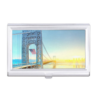 GWB connecting Fort Lee NJ and Manhattan NYPlus Business Card Holder