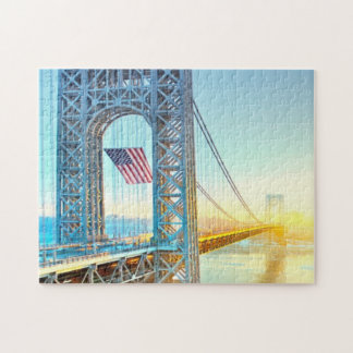 GWB connecting Fort Lee NJ and Manhattan NYPlus Jigsaw Puzzle
