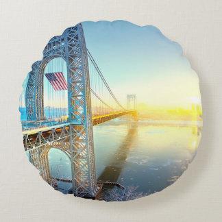 GWB connecting Fort Lee NJ and Manhattan NYPlus Round Cushion