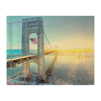 GWB connecting Fort Lee NJ and Manhattan NYPlus Wood Wall Art
