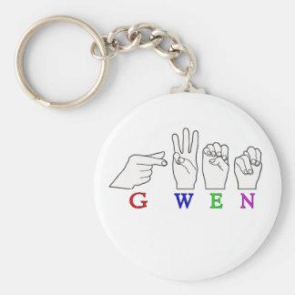 GWEN NAME FINGERSPELLED ASL HAND SIGN BASIC ROUND BUTTON KEY RING
