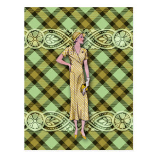 Gwendolyn: 1930s Fashion in Gold and Green Postcard