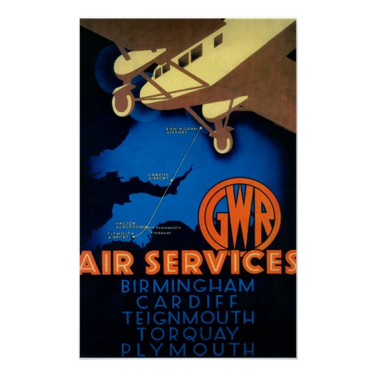 GWR Air Services Vintage PosterEurope Poster