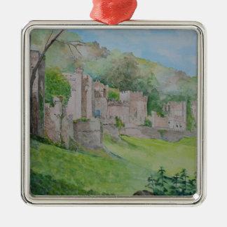 Gwrych Castle Silver-Colored Square Decoration