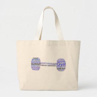 Gym bag. Dumbbell shape Large Tote Bag