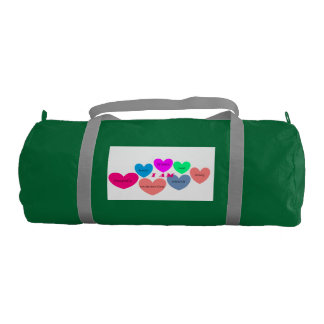 gym bag with colorful heart design