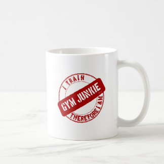 GYM JUNKIE. I TRAIN THEREFORE I AM. red Basic White Mug