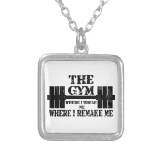 Gym Motivation Square Pendant Necklace
