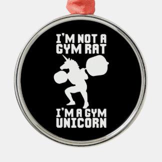 Gym Rat vs Gym Unicorn - Funny Workout Inspiration Christmas Ornament