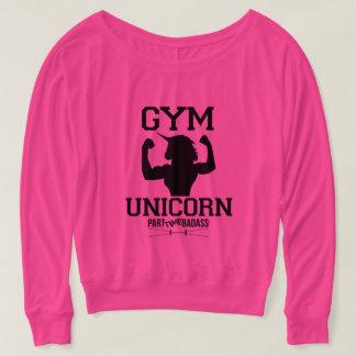 GYM UNICORN-long sleeve off the shoulder t T-Shirt