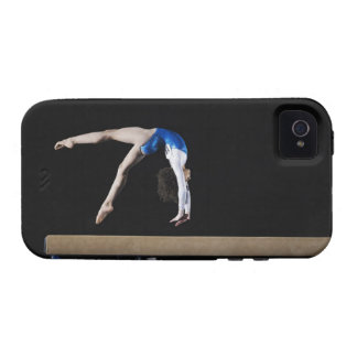 Gymnast (9-10) flipping on balance beam, side iPhone 4 cases