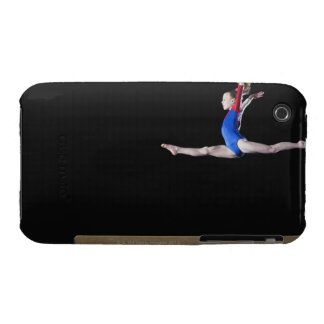Gymnast (9-10) leaping on balance beam 2 iPhone 3 cover