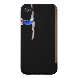 Gymnast (9-10) leaping on balance beam 2 iPhone 4/4S cover