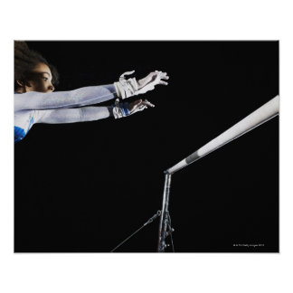 Gymnast (9-10) reaching for uneven bars 2 poster