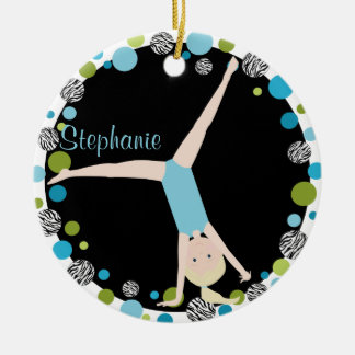 Gymnast Blonde in Aqua and Green Personalized Christmas Ornament