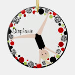 Gymnast Blonde in Red, Black & Green Personalized Christmas Ornament