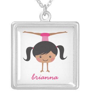 Gymnast cartoon girl personalized name pendant