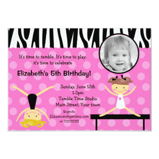 Gymnast Gymnastics Birthday Invitations