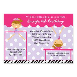Gymnast Gymnastics Birthday Party Invitation Zebra