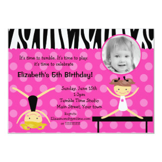 Gymnast Gymnastics Photo Birthday Invitations