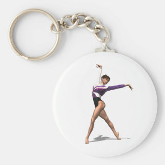 Gymnast Basic Round Button Key Ring