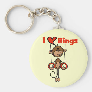 Gymnast Loves Rings Basic Round Button Key Ring