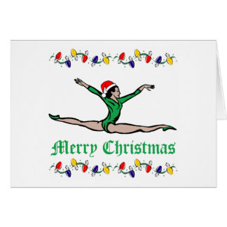 Gymnast Merry Christmas lights Card