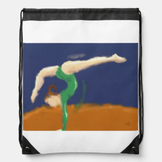 Gymnast on Balance Beam Art Drawstring Bag
