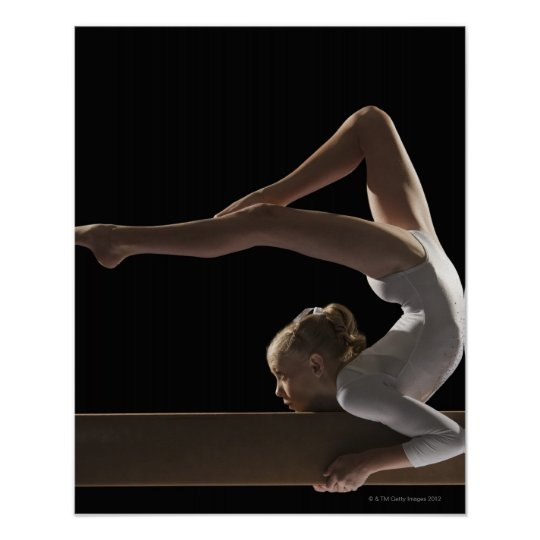 Gymnast on balance beam poster