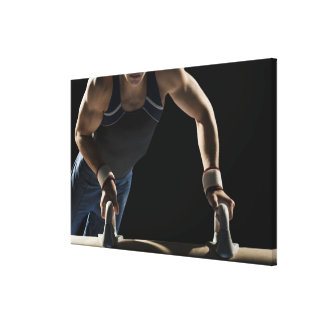 Gymnast on pommel horse canvas print