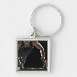 Gymnast on pommel horse key ring