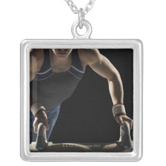 Gymnast on pommel horse silver plated necklace