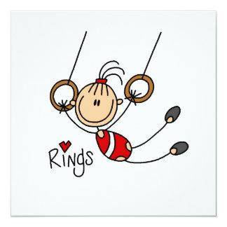 Gymnast on Rings 13 Cm X 13 Cm Square Invitation Card