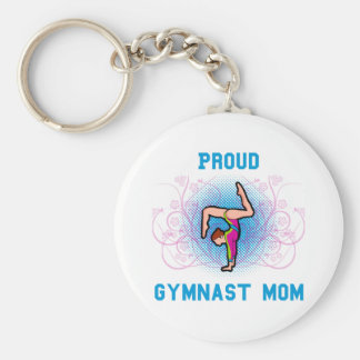 Gymnast Proud Mom Basic Round Button Key Ring