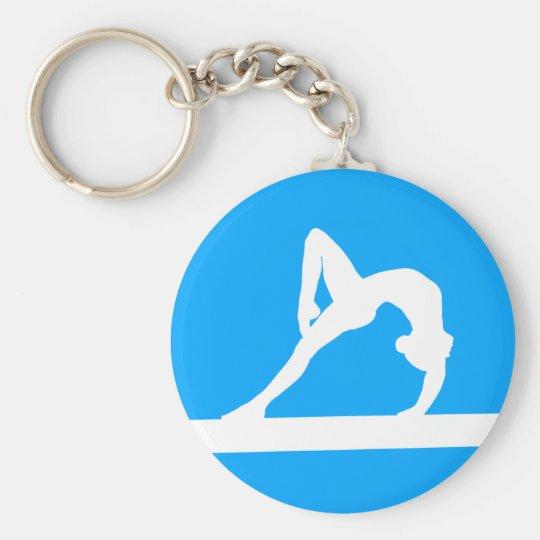 Gymnast Silhouette Keychain Blue