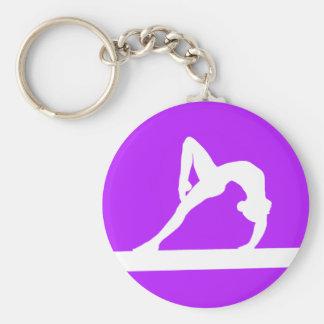Gymnast Silhouette Keychain Purple