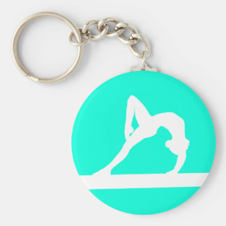 Gymnast Silhouette Keychain Turquoise