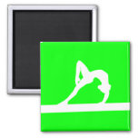 Gymnast Silhouette Magnet Green