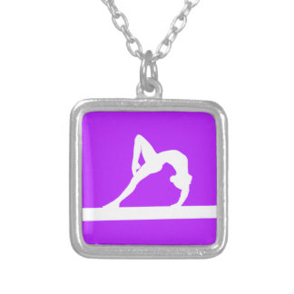 Gymnast Silhouette Necklace Purple
