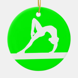 Gymnast Silhouette Ornament Green