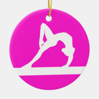 Gymnast Silhouette Ornament Pink