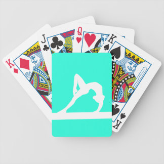 Gymnast Silhouette Playing Cards Turquoise
